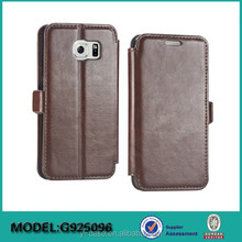 Hot selling genuine leather wallet stand case for Samsung galaxy S6 edge