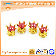 BYC Ruby Pearl Golden Crown Special Valve Caps Car Accessories