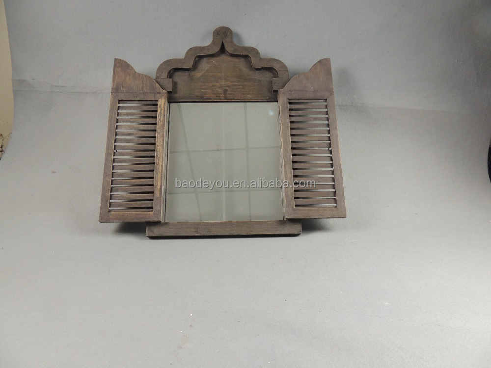 Antique style wooden framed docorative wall mirror buy for Cheap antique style mirrors