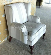 most upholstered elegant european style fabric wing back club chairs