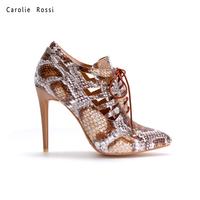 Wholesale women dress shoes snake skin high heel shoes 10.8cm high heel