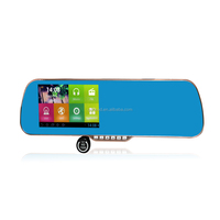 """Dual core android Rearview Mirror Dvr 1080P Car DVR 5.0"""" GPS Navigation WiFi FM Dual Camera Touch Screen"""