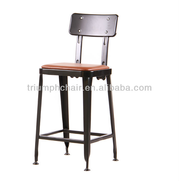 Black Metal Stool Classic Modern Industrial Chair Made Of Steel Black Lyon In