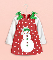 2015 Hot Sell Christmas Girls Dress With Shoulder Bows Dot Longsleeve Girl Dress Snow Pattern Kids Autumn Outfits Stock for 2-6