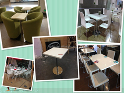 Square white composite marble restaurant table retail
