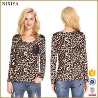 Leopard Print Long Sleeve Wholesale Tops Korean Style Clothes