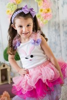 Lavender Blue Pink Pettiskirt with Easter Buttons Bunny Lavender Polka Dots Bows White Tank Top