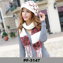 beige color knitted scarf with tassel hat and scarf set