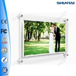 Customized super slim photo acrylic frameless led light frame