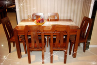 Small Space Elegant Wooden Waiting Room / Office Furniture / Conference Table With 6 Chairs
