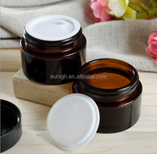 30g amber glass cream bottle with lid