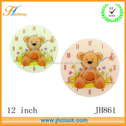 cartoon design Glass wall clock for promotion