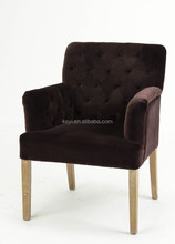 Modern Dark Brown Flannel fabric Button design Upholstered Hotel chair/Dining Chair/Restaurant Chair With Arm(KY-3163)