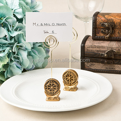 Antique gold Compass Design Place card Holder gold colored card holder
