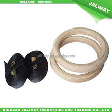 High Density Wooden Gymnastic Rings Gym Workout Exercise with Buckles Straps for Upper Body Strength Fitness