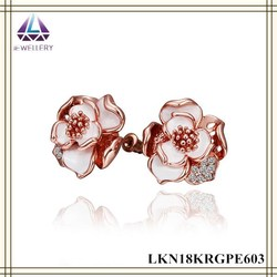 Wholesale Vermeil Jewellery Rose Gold With White Resin Paint Flower Earring