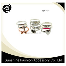 Full Set Rose Gold And Silver Wholesale Cheap Girls Ring Set
