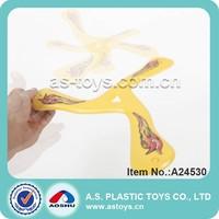 Yellow plastic triangle return frisbee