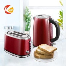 Top Design Stainless Steel red Set Electric kettle and toaster