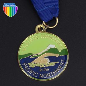 3D terne medalla de fundición de aleación con el oro plateado
