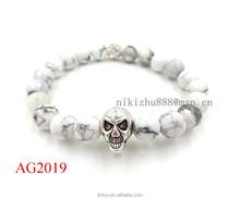 2015 Hot Fashion Men's Skull Bracelets With White Marble Bead Skull Bracelet