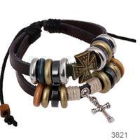 cross charms on fashion leather bracelet bangle wholesale