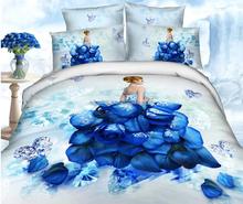 Latest design blue flower applique work 4pcs queen satin cotton microfiber thin bedspread