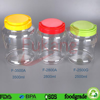 round cookie container,round jar,plastic container with screew lid clear