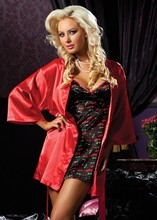 keke lover hot sale plus size red and black sexy sleepwears bathrobe two pieces