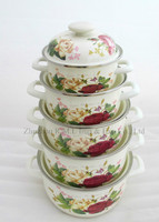 Hot selling 5 Pcs Enamel Casserole Sets with beautiful design