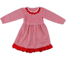Children fansy formal dress patterns strip ruffle kids girls winter dresses pattern winter dress for kids
