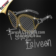 Fashion sunglasses bling tshirt custom iron on crystal transfers for t shirt