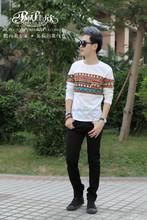 2014 Peijiaxin Fashion Design Casual Style Cheap Bulk Blank Men Splicing T-shirts