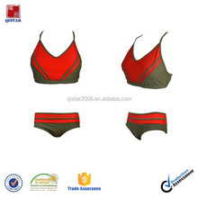 red and brown best quality casual two pieces swimsuit