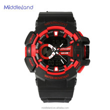MIDDLELAND Rubber Strap Red color Chrono Alarm Date/Day Flashlight Tech Multifunction analog digital mens sport watches