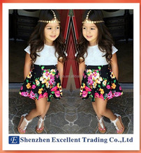 Beautiful floral casual girl suit fashion children clothing set short-sleeved t-shirt+skirt 2015 summer new kids clothes set