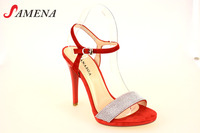 Ladies high heel strapy fashion sandals suede pu sandals