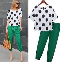 2015 Popular Women Clothings White Short Sleeve Wave Point Chiffon Blouse And Elastic Waist Pants 2 Piecs Set SET-150413