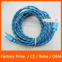 2M Multi Color Nylon Braided High Power Multi Charger Data Cable for iPhone 5 5S