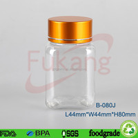 80cc PET clear square plastic pill bottles,apothecary talbets plastic PET jars