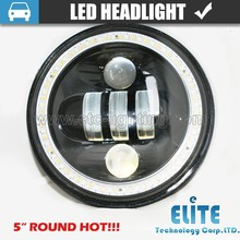 "Black 5"" 3/4"" Round Motorcycle LED Headlight off road led lights 5.75''"