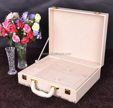 china factory wedding gift professional white leather cosmetic case