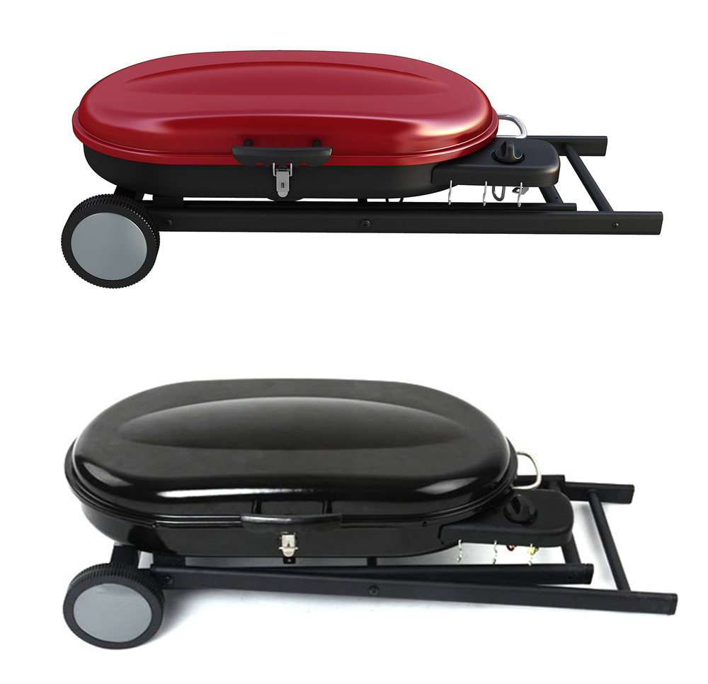 portable propane lp gas bbq barbecue grills with foldable trolley cart for camping outdoor. Black Bedroom Furniture Sets. Home Design Ideas