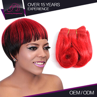 Beautiful Full And Thick 100% Human Remy Short Burgundy Colored Weave Hair Professionals Products Distribution
