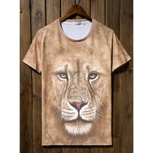 O-neck Lion Design Fashion Men T-shirts Stock Biker Tops