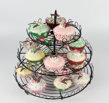 3 Tier Fruit Stand Green Paint Iron Wedding Cake Stand
