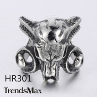 Trendsmax PUNK Cool Mens Boys Carved Animals Head Skull Horn Ring Black Gold Silver Tone 316L Stainless Steel Ring