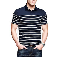 elastic lycra short sleeve polo t shirt for business men lapel t shirt spandex polo t shirt in stripe design