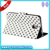 2014 new products pu leather flip polka dot stand cover case for samsung galaxy S5
