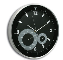 Aluminium wall clock with thermometer&Hygrometer, Weather station clock, Forecast clock, Promotional gift